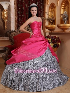 Hot Pink Ball Gown Sweetheart Floor-length Taffeta and Zebra Beading 16 Birthday Dress