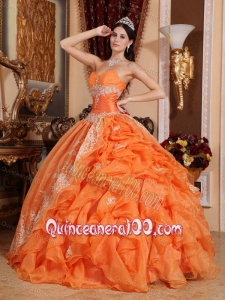 Orange Red Ball Gown Sweetheart Floor-length Organza Beading 16 Party Dress
