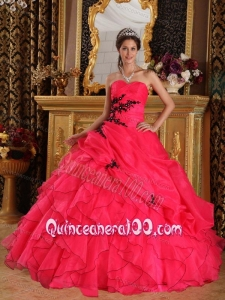 Red Ball Gown Sweetheart Floor-length Organza Appliques 16 Party Dress