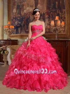 Red Ball Gown Sweetheart Floor-length Organza Beading 16 Party Dress