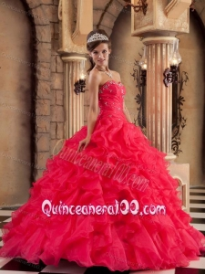 Red Ball Gown Sweetheart Floor-length Organza Ruffles 16 Birthday Party Dress