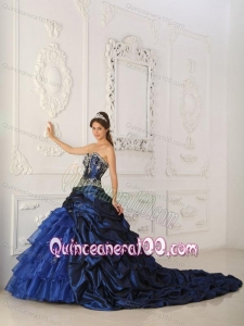 Royal Blue Ball Gown Sweetheart Chapel Train Taffeta and Organza Appliques 16 Birthday Dress
