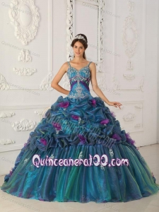 Teal Ball Gown Straps Chapel Train Organza 16 Party Dress