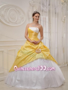 Yellow Ball Gown Strapless Floor-length Taffeta and Tulle Beading 16 Birthday Party Dress