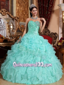 Apple Green Ball Gown Sweetheart Floor-length Organza Beading and Ruffles 16 Birthday Party Dress