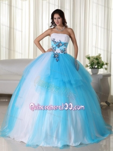Aqua Ball Gown Strapless Floor-length Tulle Beading 16 Birthday Party Dress