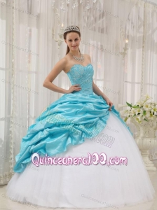 Aqua Blue Ball Gown Sweetheart Floor-length Taffeta and Tulle Beading 16 Birthday Party Dress
