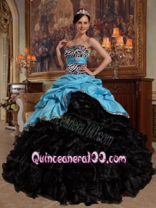 Aqua Blue and Black Ball Gown Sweetheart Floor-length Pick-ups Taffeta and Organza 16 Birthday Party Dress