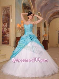 Aqua Blue and White A-Line / Princess Sweetheart Floor-length Beading Tulle and Taffeta 16 Birthday Party Dress