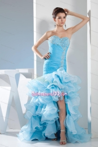 Beading Mermaid Sweetheart High low Aqua Blue 16 Birthday Party Dress