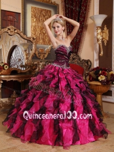 Black and Red Ball Gown Sweetheart Beading and Ruffles 16 Birthday Party Dress