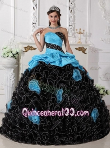 Blue and Black Ball Gown Sweetheart Beading and Rolling Flowers 16 Birthday Party Dress