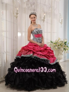 Brand New Red and Black Ball Gown Sweetheart Floor-length 16 Birthday Dress