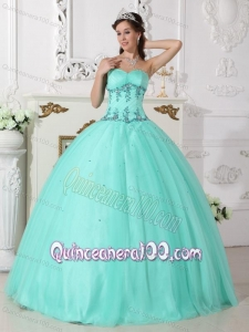 Green Ball Gown Sweetheart Floor-length Tulle and Taffeta Beading 16 Birthday Party Dress