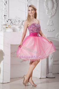 Pink A-line Beading Short 16 Birthday Party Taffeta and Organza
