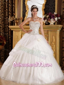 Popular Ball Gown Sweetheart Floor-length Organza and Sequined 16 Party Dress