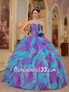 Purple and Aqua Blue Ball Gown Sweetheart Ruffles Organza 16 Birthday Party Dress
