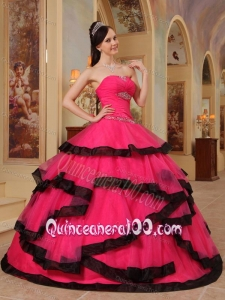 Red Ball Gown Strapless Floor-length Organza Appliques 16 Birthday Party Dress