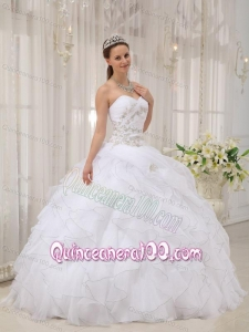White Ball Gown Sweetheart Floor-length Organza Appliques 16 Birthday Party Dress