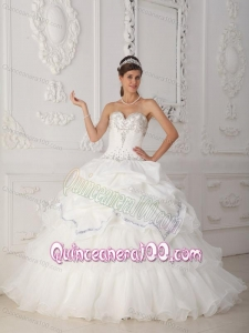 White Ball Gown Sweetheart Floor-length Organza and Taffeta Beading 16 Party Dress