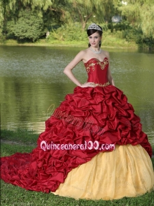 Appliques and Pick-ups Wine Red Exquisite Style For 2013 16 Birthday Party Dress