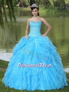 Beaded Ruffles Layered Decorate 16 Birthday Party Dress With Sweetheart Aqua Skirt