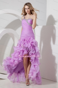 Lavender Column / Sheath One Shoulder Prom Dress Organza 16 Party Dresses