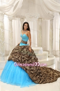 Leopard and Organza Beading Decorate Sweetheart Neckline Exquisite 16 Birthday Party Dress