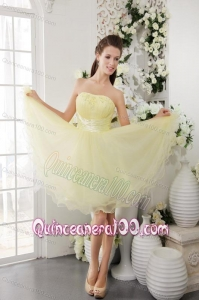 Light Yellow Organza Beading 16 Birthday Dresses Short
