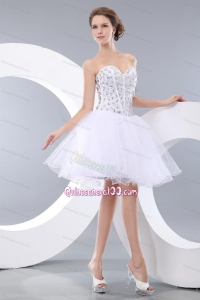 Lovely White Sweetheart Mini-length Organza Beading 16 Birthday Party Dresses