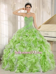Spring Green Beaded Bodice and Ruffles Custom 16 Birthday Party Dress