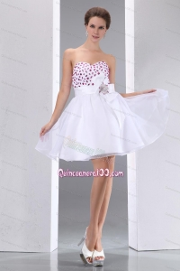 Sweet White A-line Sweetheart Beading Taffeta and Chiffon 16 Birthday Party