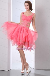 Watermelon Prom Dress A-line Straps Organza Beading 16 Birthday Party