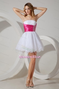 White A-line / Pricess Strapless Cocktail Dress Beading Organza 16 Birthday Party