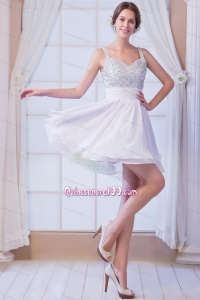 White A-line Straps Mini-length Chiffon Beading 16 Birthday Party Dress