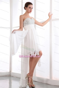 White Empire Sweetheart Prom Dress Chiffon 16 Birthday Party