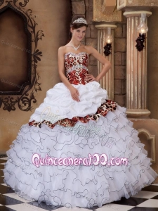 White Ball Gown Sweetheart Floor-length Organza and Leopard Ruffles 16 Party Dress