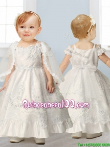Best Spaghetti Straps Cap Sleeves Flower Girl Dress with Lace and Beading