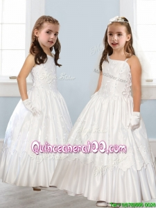 Discount Asymmetrical Neckline White Flower Girl Dress with Appliques