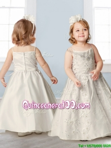 Perfect Spaghetti Straps Beading and Appliques Flower Girl Dress in Champagne
