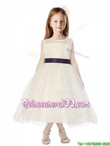 See Through Scoop Belt and Lace Flower Girl Dress in Champagne