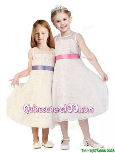 See Through Scoop Flower Girl Dress with Belt and Lace