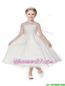 See Through Scoop Organza White Flower Girl Dress in Tea Length