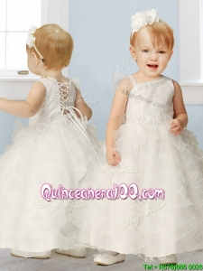 Sweet Asymmetrical Neckline Flower Girl Dress with Appliques and Ruffled Layers
