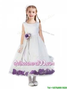 Elegant Hand Made Flowers and Applique Scoop Flower Girl Dress in White