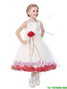Wonderful Tulle Scoop Flower Girl Dress with Hand Made Flowers and Appliques