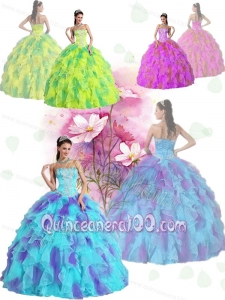 All Colors Ball Gown Strapless Appliques and Ruffles Sweet Sixteen Quinceanera Dresses