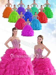 Ball Gown Sweetheart All Colors Ruffles and Beading Quinceanera Gowns in Spring