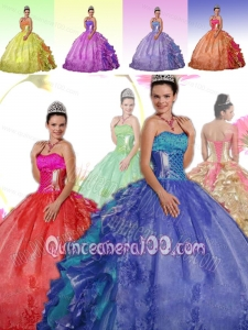 Modest Ball Gown Sweet Sixteen Quinceanera Dresses with Strapless Ruffles and Embroidery for 2014