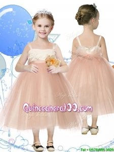 Affordable Spaghetti Straps Hand Made Flowers Mini Quinceanera Dress in Champagne